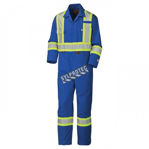 Blue 100% flame-resistant cotton safety coverall, HRC 2, with high-visibility reflective stripes, compliant CSA Z96-15.