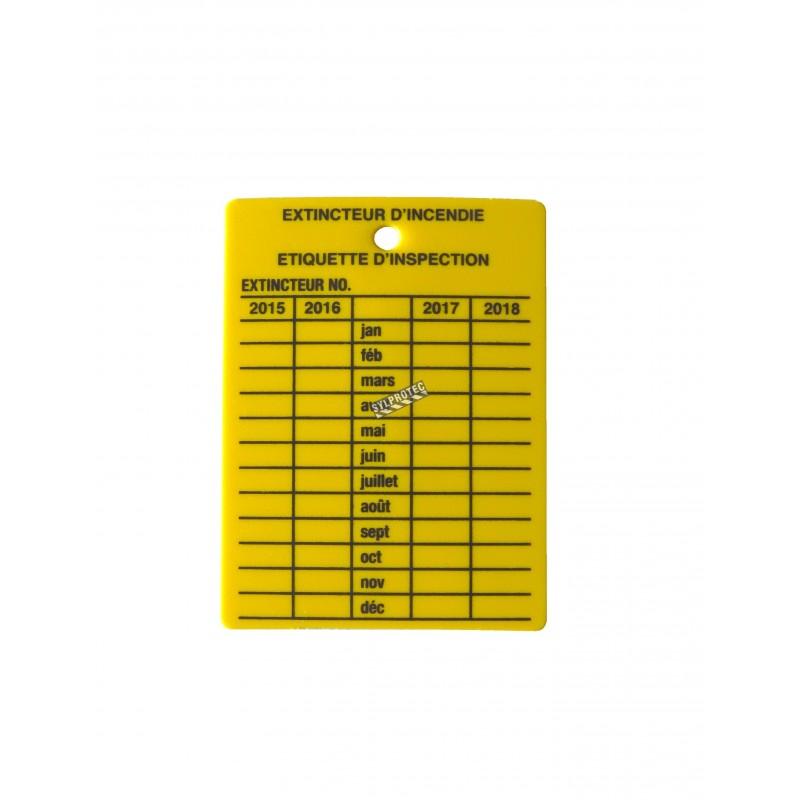 Étiquette d'inspection mensuelle en plastique jaune pour extincteurs portatifs, en français, couvrant 4 ans.