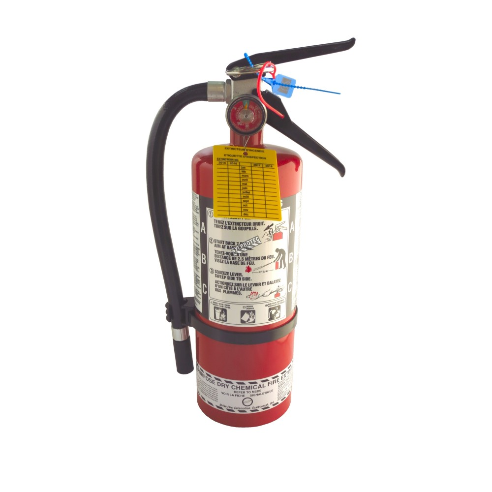 Yellow plastic monthly inspection tag for fire extinguishers, labelling in  French, covering 4 years