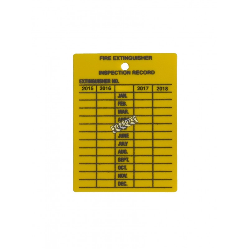 Étiquette d'inspection mensuelle en plastique jaune pour extincteurs portatifs, en anglais, couvrant 4 ans.