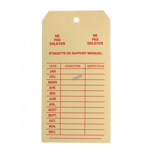 Cardstock monthly inspection tag, for fire extinguishers, labelling in French, covering 1 year.