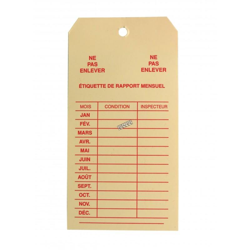 Étiquette d'inspection mensuelle en carton pour extincteurs portatifs, en français, couvrant 1 an.