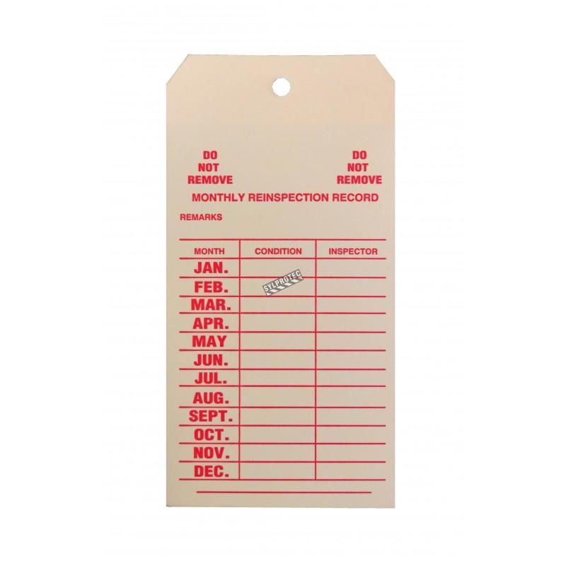 Étiquettes d'inspection mensuelle en carton pour extincteurs portatifs, en anglais, couvrant 1 an.