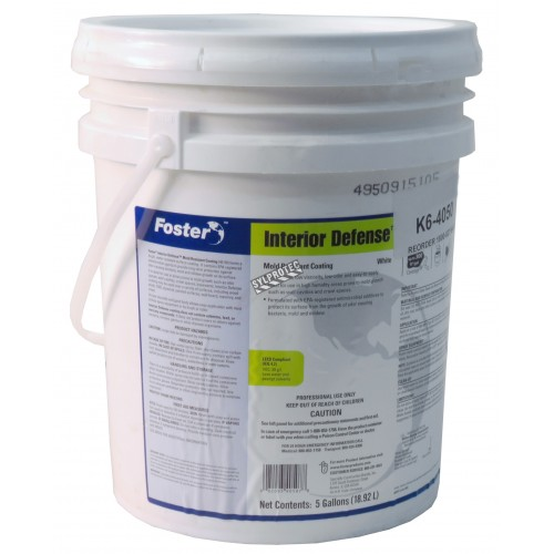 Foster Interior Defense 40-50 mold-resistant coating with IPBC fungicide & metal oxides for mold control & prevention. 5 gal US.