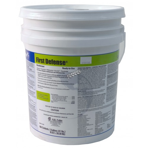 First Defense 40-80 broad spectrum disinfectant with quaternary ammonium chloride, for mold decontamination. 5 gal US container.