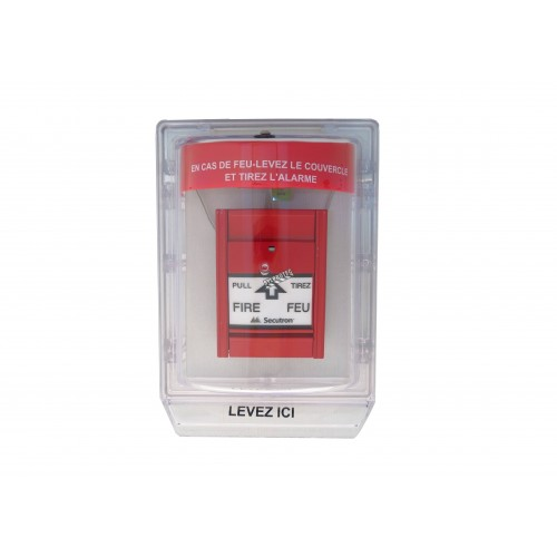 Clear water-resistant polycarbonate cover for  manual fire alarm pull station.
