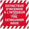 """Bilingual self-adhesive vinyl """"Extincteur d'incendie à l'intérieur Fire extinguisher inside"""" fire safety sign"""