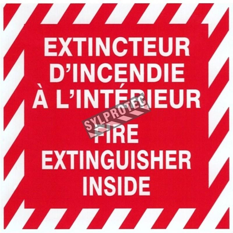Affiche bilingue autocollante 4 po x 4 po «Extincteur d'incendie à l'intérieur».