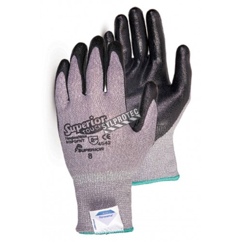 Superior Touc® cut-resistant ASTM/ANSI level A5  knit gloves with Dyneema composite fiber and foam nitrile coating