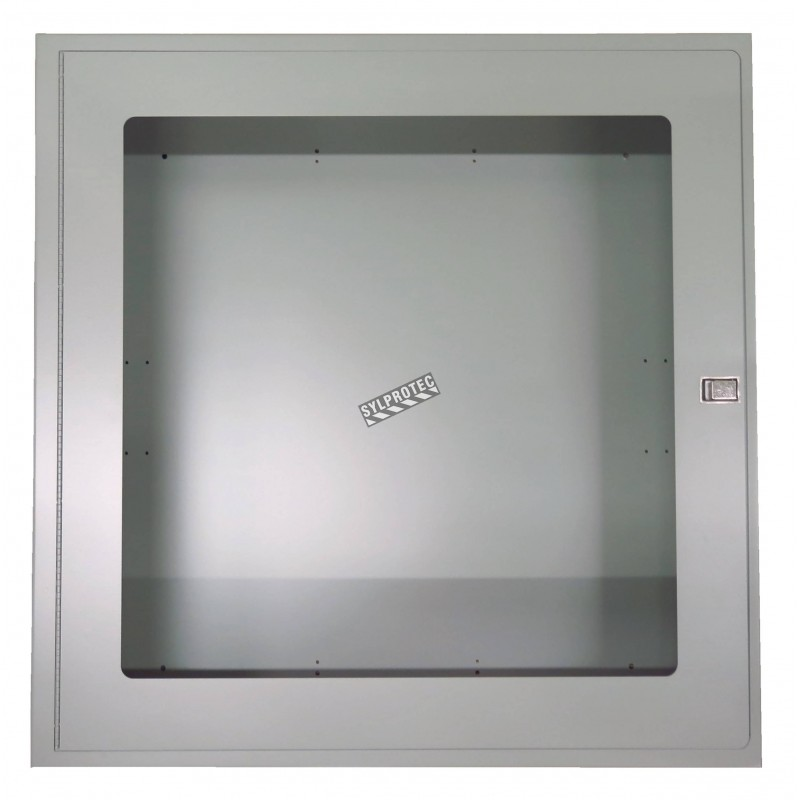 Surface-mounted cabinet for fire hose of 75 to 100 ft and fire extinguisher of 5 or 10 lbs.