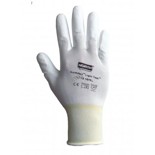 Gants NorthFlex Light Task de North en tricot de nylon blanc enduits de polyuréthane sur la paume. Vendu par paire.