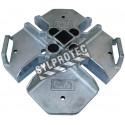 Plaque de base en acier galvanisé pour système de garde-corps autoportant et amovible DBI-SALA.