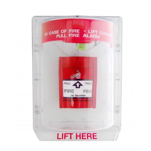 Couvercle Stopper II avec alarme locale et instructions en anglais pour station manuelle d'alarme incendie en surface