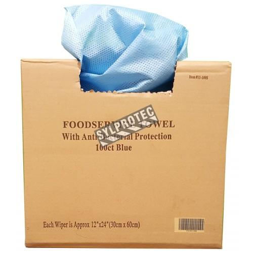 Serviette jetable bleu 13 po. X 21 po. paquet de 100 unités.