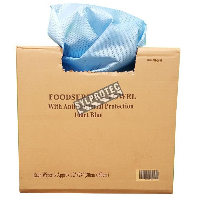 Blue disposable rag 13 inc. X 21 inc. box / 100 units.