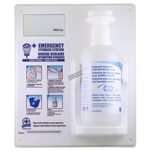 Wall-mounted kit for emergency eye wash, 1 liter.