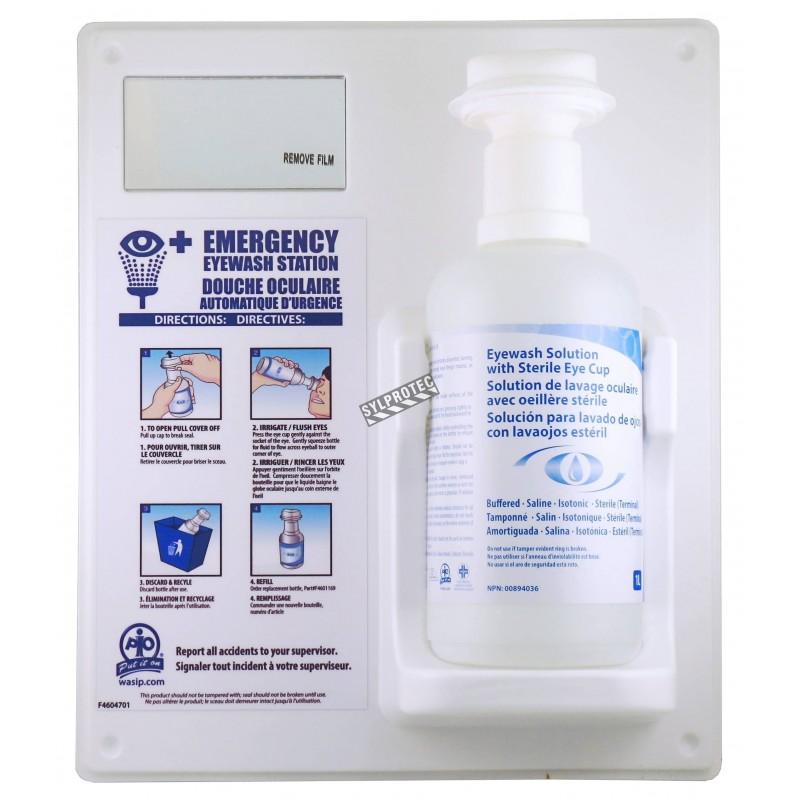 Wall-mounted kit for emergency eye wash, 1 liter.