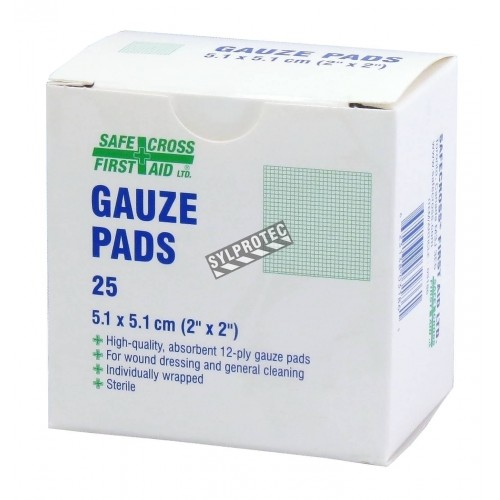 Tampons de gaze stériles, 2 x 2 po, 25/bte.