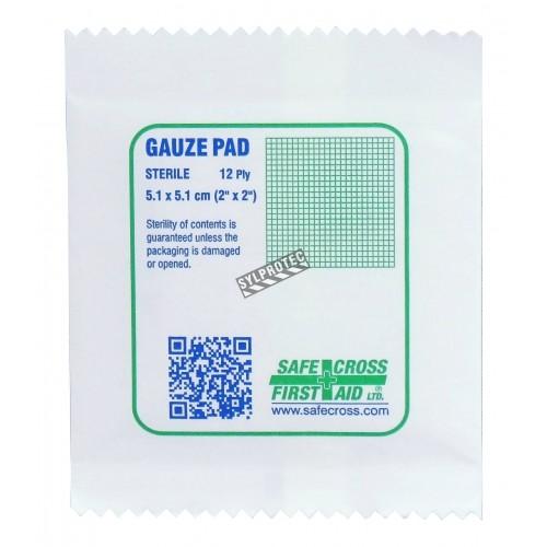 Sterile gauze pads, 2 x 2 in, 100/box.