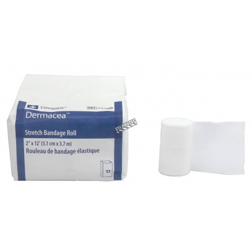 Non-sterile rolls of gauze bandage, 2 in x 12 ft, 12/box.