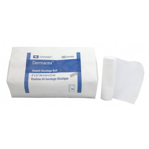 Non-sterile rolls of gauze bandage, 4 in x 12 ft, 12/box.