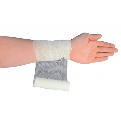 Sterile roll of gauze bandage, 4 in x 30 ft, sold individually.