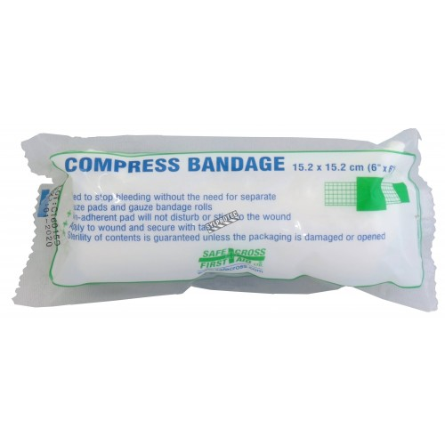 Sterile compress bandage, 6 x 6 in, sold individually.