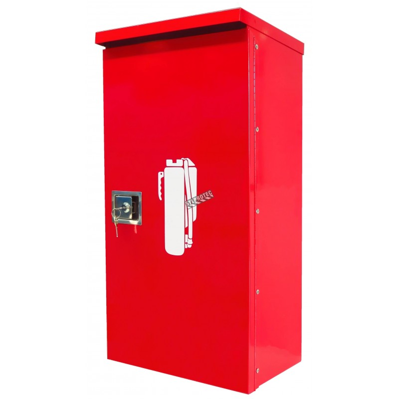 Surface-mounted outdoors steel fire cabinet for 20 lbs extinguishers.