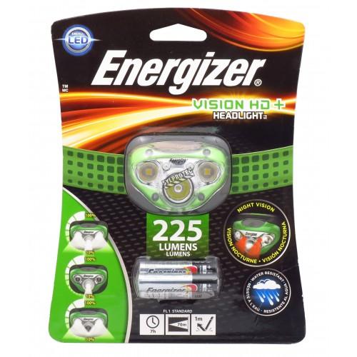 Lampe frontale mains libres Energizer Vision HD+ multifaisceau, à intensité réglable (max 225 lumens).