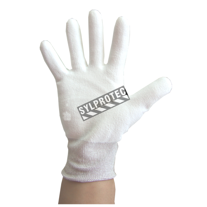 Superior Touch white Dyneema cut-resistant gloves with PU coating, ASTM/ANSI puncture resistant level 3 & cut resistant level A2