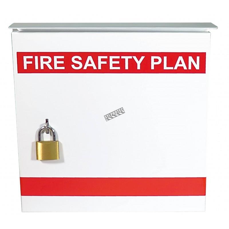 Boìte pour plan d'urgence 13 3/8 po L X 13 3/8 po H X 4 1/4 po P. Boîtier en acier sécuritaire et résistant aux intempéries.