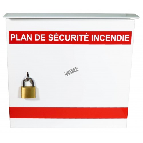 Steel box safety plan13 3/8 in W X 13 3/8 in H X 4 1/4 in. Fire safety plan box is made 18 gauge.