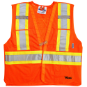 High-visibility orange safety vest, 4 sizes, CSA Z96-15 class 2 level 2, 4 pockets.
