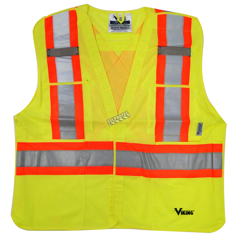 High-visibility yellow safety vest, 4 sizes, CSA Z96-15 class 2 level 2, 4 pockets.