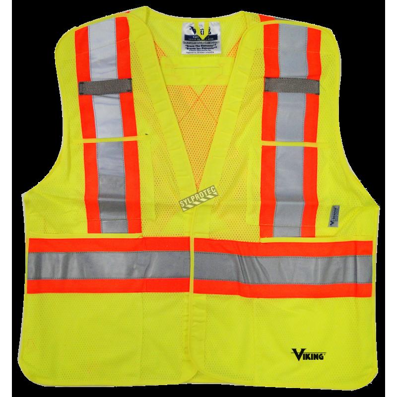Veste de circulation jaune fluo, 4 grandeurs, conforme CSA Z96-15 classe 2 niveau 2, 4 poches.