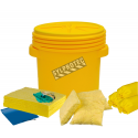 Chemical spill kit for water-based and oil-based fluids, 20 US gallons (75 L), overpacked in a drum with threaded lid.