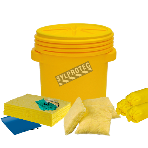 Chemical spill kit in static overpack drum, capacity 20 US gallons.
