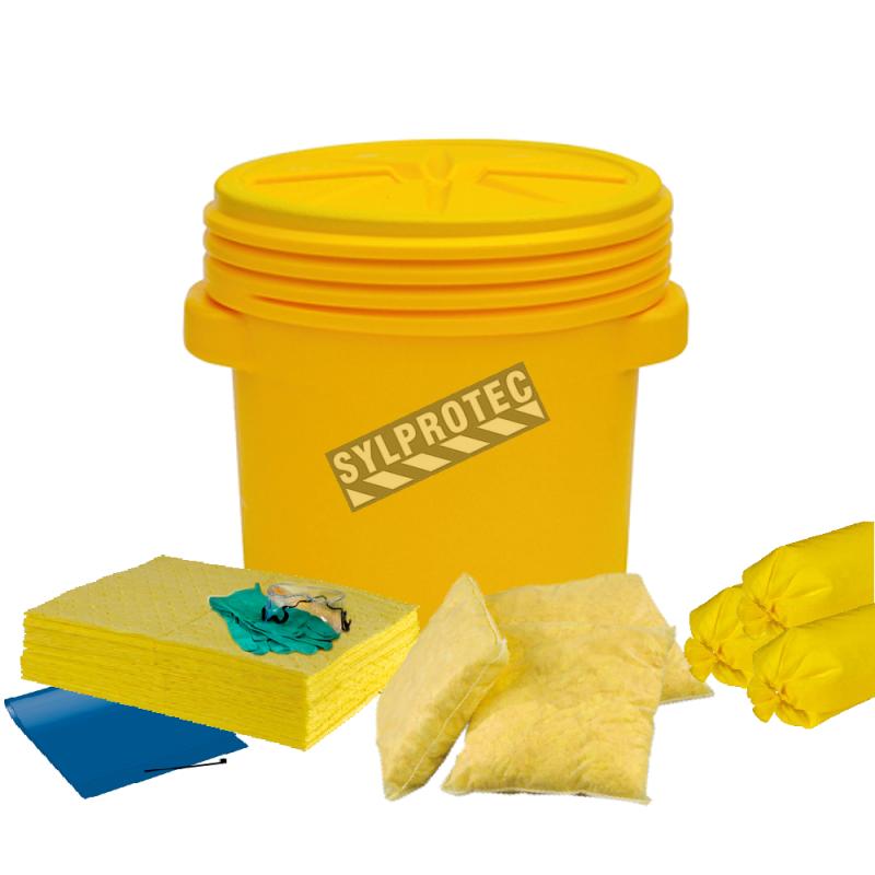 Ensemble pour déversement de produits chimiques aqueux et huileux, 20 gallons US (75 L), dans un baril à couvercle vissable.
