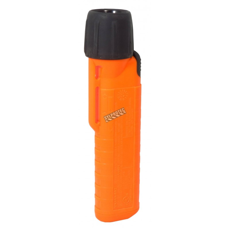 UK4AA-AS2 certified anti-explosion front switch flashlight with xenon bulb. Orange casing.