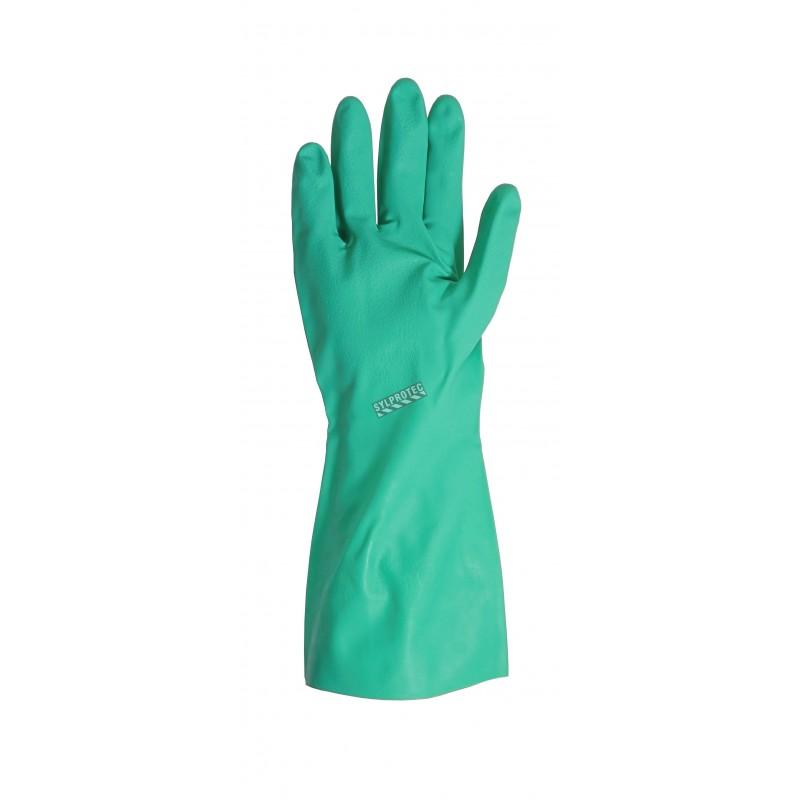 Nitrile unsupported textured & flock-lined safety glove for chemical protection. 13 in long and 11 mils thick.