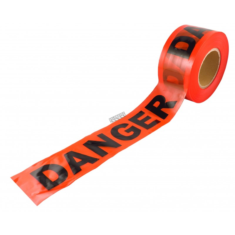 Red barricade tape, DANGER, 3 in X 1000 ft.
