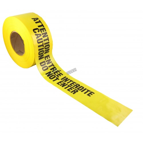 Bilingual yellow barricade tape, CAUTION DO NOT ENTER, 3 po X 1000 ft.