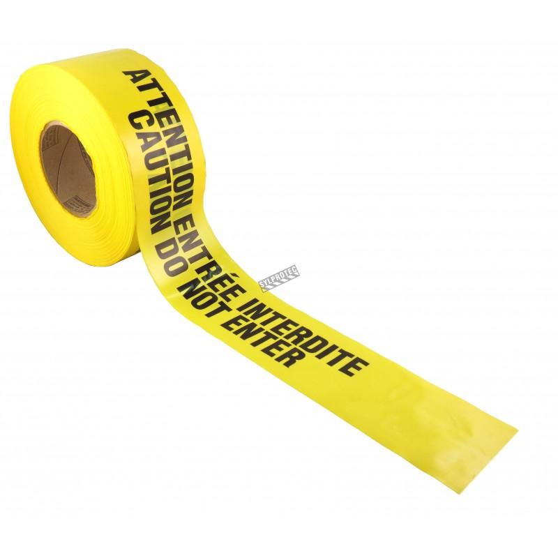 Ruban à barricade jaune, Billingue, ATTENTION ENTRÉE INTERDITE, 3 X 1000 pi.