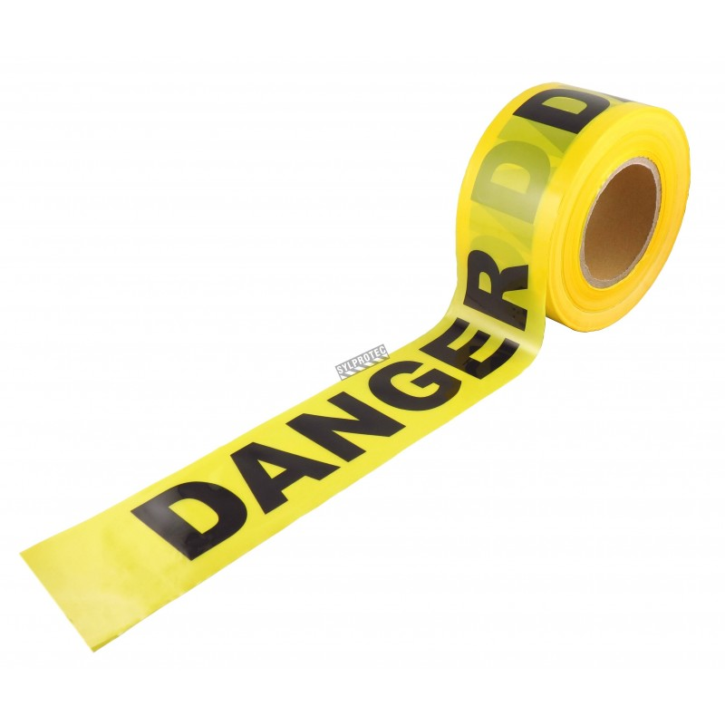 Yellow barricade tape, DANGER, 3 in X 1000 ft.
