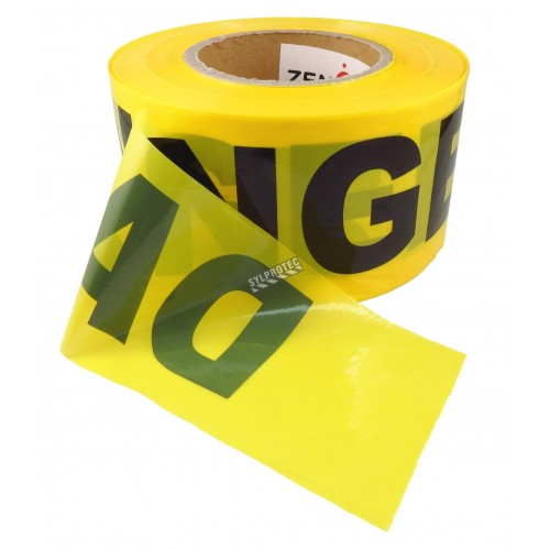 Ruban à barricade jaune, DANGER, 3 po X 1000 pi.