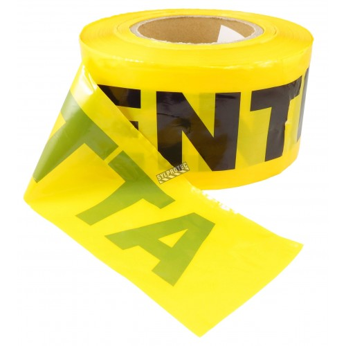 Yellow barricade tape, ATTENTION, 3 in X 1000 ft.