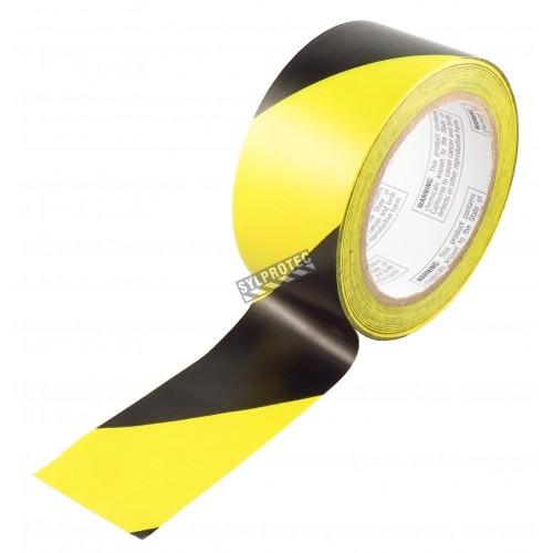 Ruban d'avertissement autocollant rayé noir et jaune, 2 po X 48 pi, (50 mm X 16 m).