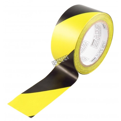 Striped adhesive warning tape, black and yellow 2 in X 48 ft,  (50 mm x 16 m).