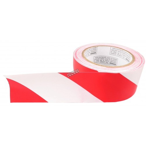 Striped warning adhesive tape, red and white 2 in X 48 ft (50 mm X 16 m).