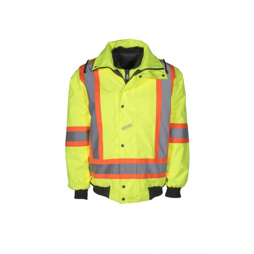 High-visibility 6-in-1 winter coat, fluorescent yellow with retroreflective stripes, CSA Z96-15 Class 2 Level 2.